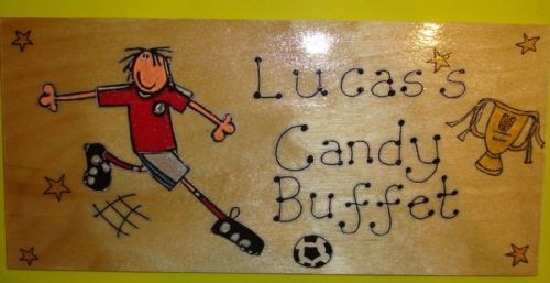 Football Crazy Theme Large Children's Personalised Wooden Sign 9.5 x 4 inches Suitable for Any